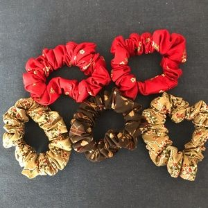Hand crafted 5 pc set of scrunchies earthy tones
